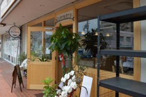 入口には、OPEN祝いの植物さんたちがズラリ。オリーブ、このお店にピッタリです。